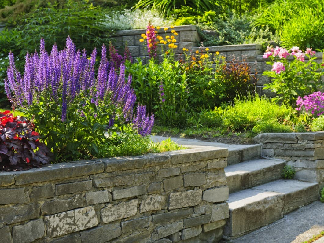 Ornamental Garden with brick wall and stone steps